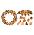 round christmas wreath with cinnamon sticks dried vector image
