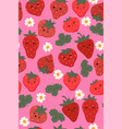 seamless pattern with cute strawberries vector image vector image