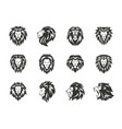 set black heraldic lion symbols on white vector image vector image