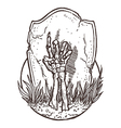 Skeleton Hand Rising from the Ground vector image vector image