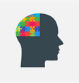 the black puzzle piece head - brain vector image