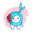 Tooth character with ice bag vector image vector image