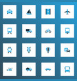 transportation icons colored set with sign road vector image vector image