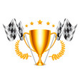 trophy cup and checkered flags vector image