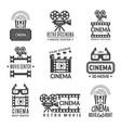 video labels set cinema production badges in vector image