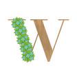 Wooden leaves letter w