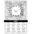 2019 wall calendar with wreath and clock vector image