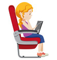 a girl on the airplane seat vector image vector image