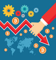 bitcoin exchange graphic down - creative vector image