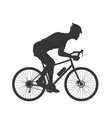 black silhouette cyclist outdoor fitness vector image