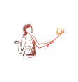 blogger smartphone selfie woman concept vector image vector image