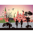 boy and girl holding hands and walking in the Red vector image vector image