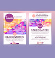 brochures with cartoon kindergarten vector image vector image