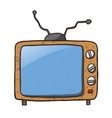 Cartoon Home Appliances Old TV Isolated on White vector image