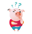 cartoon pig stands and looks at us questioningly vector image