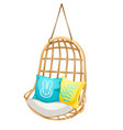 chair hanging on the rope with soft cushions set vector image