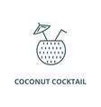 coconut cocktail line icon coconut vector image vector image
