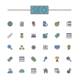 Colored SEO Line Icons vector image vector image