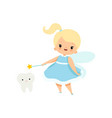 cute little tooth fairy with batooth and magic vector image vector image
