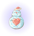 cute snowman holding heart and smiling love vector image
