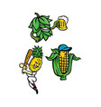 fruits and vegetables mascot collection vector image vector image