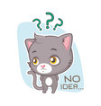 funny sticker with cute gray cat - confusion vector image vector image