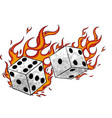game dices in fire and flames vector image