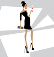 Girl in a black dress with a glass vector image vector image