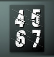 glitch number font template vector image vector image