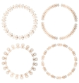 Golden round floral frames design elements vector image