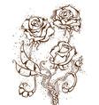 Grunge ink roses vector image