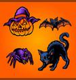 halloween pumpkins set element cat bat vector image vector image