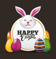 happy easter card face rabbit cute eggs dark vector image vector image