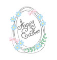 happy easter greeting card with flowers and eggs vector image vector image