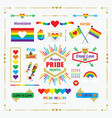 happy pride month rainbow flags icons emblems set vector image vector image