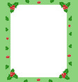 holly berry green christmas frame border for vector image vector image