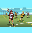 kids playing lacrosse vector image