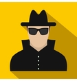 Man in black sunglasses and black hat flat icon vector image vector image
