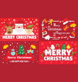 merry christmas banner set flat style vector image