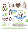 Milk icons labels and design elements vector image vector image