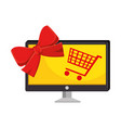 monitor computer with shopping cart vector image vector image