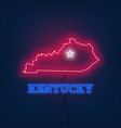 neon map state of kentucky on dark background vector image vector image