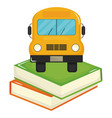 pile text books school with bus vector image