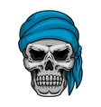 Pirate skull in blue bandana vector image vector image
