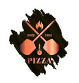 pizza watercolor logo with oven shovel wood fired vector image vector image
