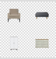 realistic footstool chair cupboard and other vector image vector image