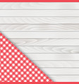 red corner tablecloth on white wood table vector image