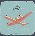 retro aviation travel poster and sign in simple vector image