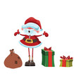 santa claus with gifts funny cartoon santa claus vector image