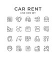 set line icons of car rent vector image vector image